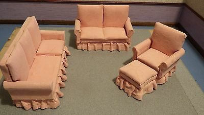dolls house pink 3+ 2 seater sofas and armchair and stool 1.12th scale