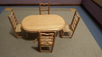 dolls house pine oval country kitchen table + 4 chairs 1.12th