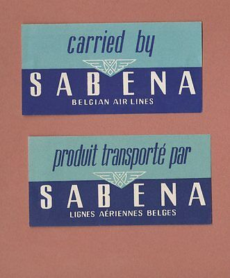 2 Airline luggage labeal  Sabena air line  2 different   #679