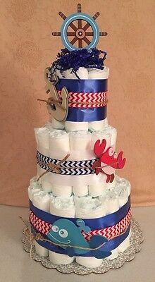 3 Tier Diaper Cake Baby Shower Centerpiece Chevron Nautical, Ahoy Matey Theme