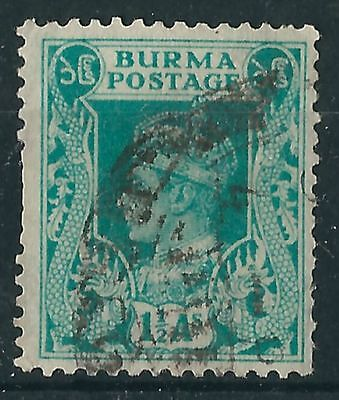 n160) Burma. 1938/40. Used. SG 23 1 1/2a Turquoise-green. Royalty