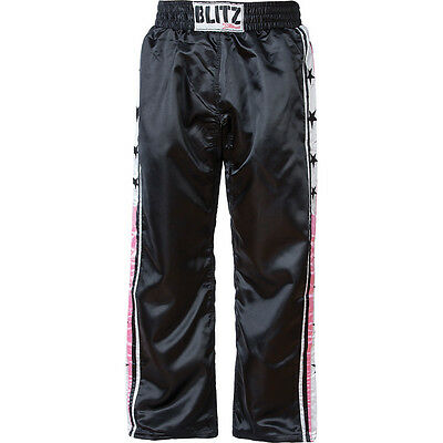Blitz Xtreme Satin Full Contact Trousers - Black / Pink - Size 6 (190cm) - NEW
