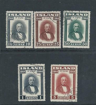 Iceland - 1944 Proclamation of Republic - Five different values - Light used