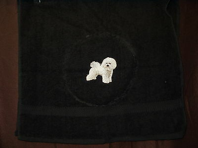 Embroidered Bichon Frise Hand Towel Black or Green
