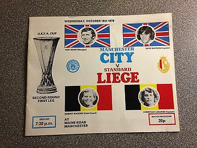 Manchester City vs. Standard Liege programme. UEFA Cup 1978-79.