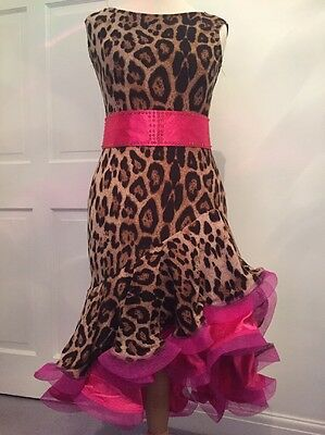 Leopard And Pink Latin Dress Size 8