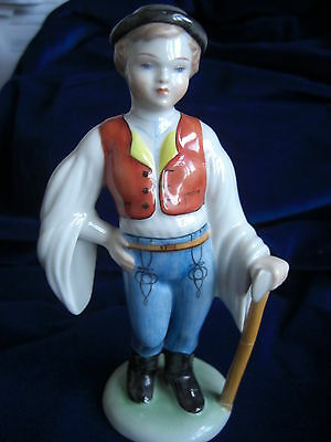 Herend - Porcelain Figure -Traditional Hungarian Boy In Magyar Costume