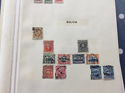 Colombia Bolivia assortment of stamps from multiple collectors on pages