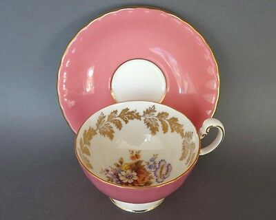 Aynsley Coral Pink/Floral Bone China Cabinet Cup & Saucer