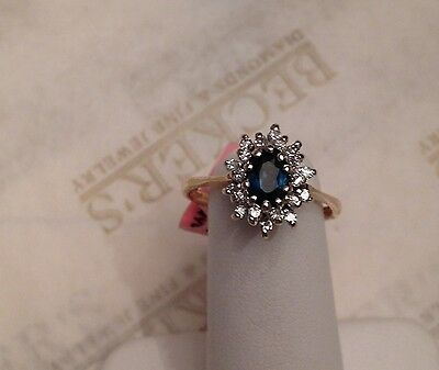 Beautiful 14k Oval Blue Sapphire and 20 Diamond Halo Ring .70 tw J-SI1-I1 size 6