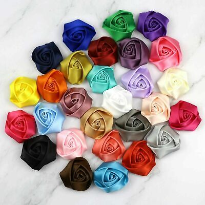 DIY 5-25-50PCS Satin Ribbon Rose Flowers Crafts Wedding Appliques 40MM 28 Colors