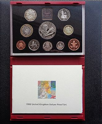 1998 Royal Mint Proof Coin Set Red Deluxe with COA