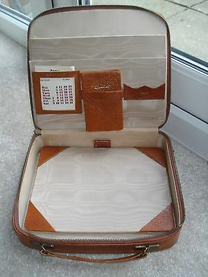 Tan Leather Vintage Writing Case 1950s to 1960s Calender Address Book Blotter