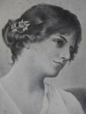 Original Mounted Vintage Pencil Portait of a Romatic Lady