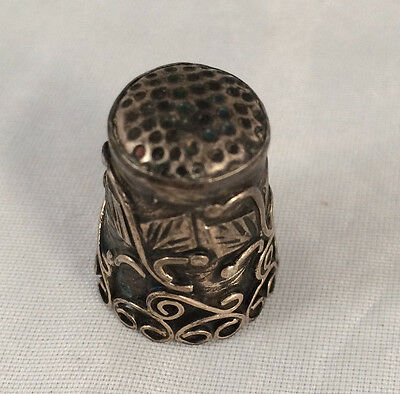 Beautiful Vintage Ornate Scrolled 925 Sterling Silver Filigree Sewing Thimble