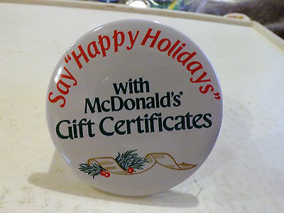 3 Inch Metal McDonalds Pin - Say Happy Holidays with McDonalds Gift Certificates