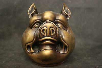 Old Ancient Chinese Culture Folk Copper Bronze Statue Lucky Zodiac Pig Sculpture