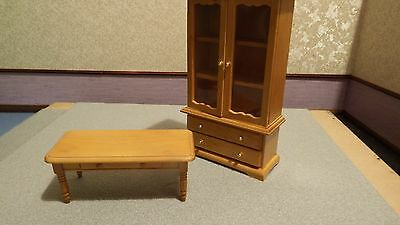 dolls house furniture pine display unit and table 1.12th