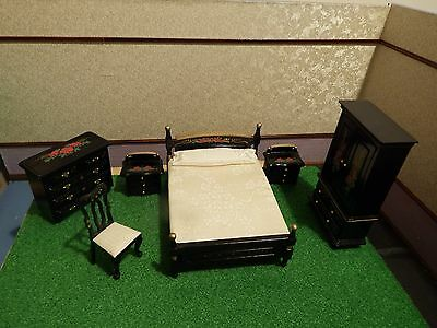 dolls house stunning black/gold and red full bedroom set quality 1.12th
