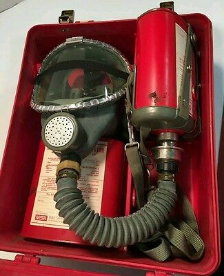 MSA All Service Gas Mask Model S w Clearvue Facepiece & Window-Cator Cannisters