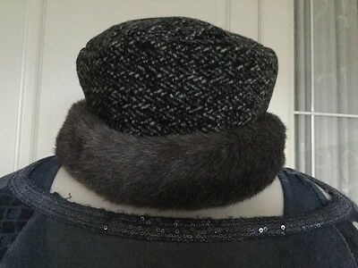 New BHS Grey/black/cream With Wool Cotton Faux Fur Cossack Style Hat One Size.