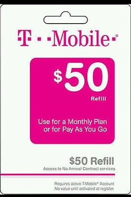 T-MOBILE $50 Refill. Real Time Reload Directly to Phone. Prepaid