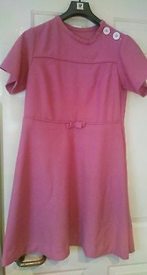 VINTAGE 60's  PINK CRIMPLENE DRESS 10 -12