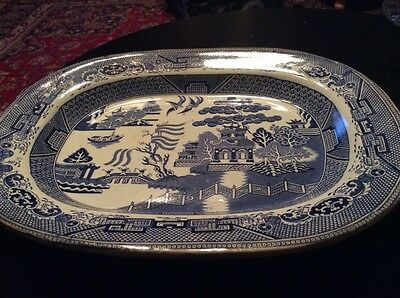 lareg willow pattern meat platter plate impressed makers mark