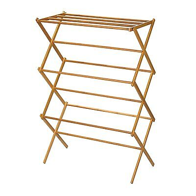 Household Essentials 6524 Tall Indoor Folding Wooden Clothes Drying Rack -...