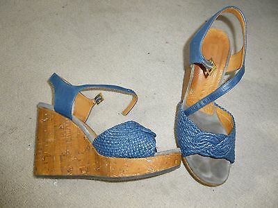 Chie Mihara Blue Leather Wedge Sandals. Size 4 / 37