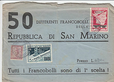 A 1355 San Marino 1944 advertising cover 50 SM stamps; cancelled San Marino ++