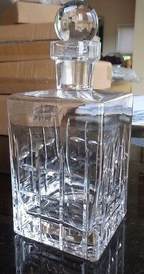 Pottery Barn Library Decanter Hand blown cut glass   New in box