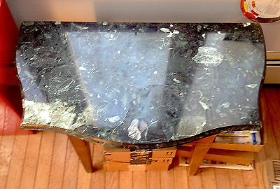 Antique Marble Italian, Carved Green White Veined Classic Fine Table Dresser Top