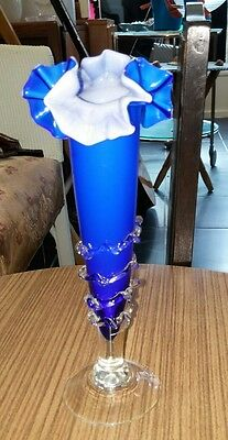 Beautiful vintage murano blue hankerchief style glass vase