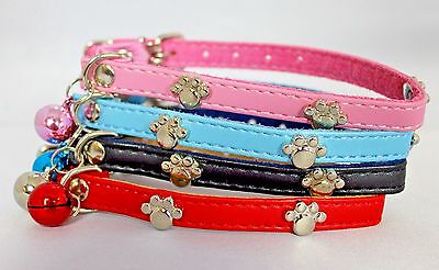 Faux Leather paw studded cat collar with bell safety collar
