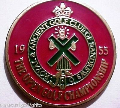"1955 British Open Golf Ball Marker 1"" Hand Painted Coin - Old Course St Andrews"