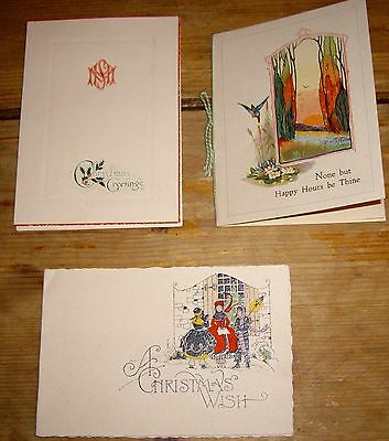 3 X Vintage Christmas Cards Used 1930s