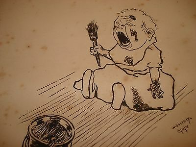 """1918 ORIGINAL PEN & INK DRAWING - Signed & Dated - """"A Spoiled Child"""""""
