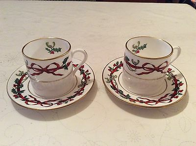 Royal Worcester  - Holly Ribbons - Cup and Saucer  2 Available