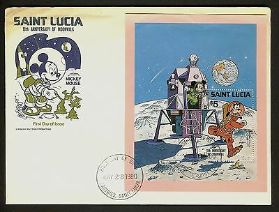 Saint Lucia 1980 FDC Mickey Mouse, 10th anniversary of Moonwalk First Day Cover