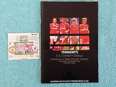 1990 - CHARITY SHIELD PROGRAMME + MATCH TICKET - MANCHESTER UTD v LIVERPOOL