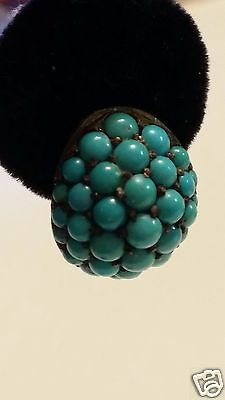 18 Kt Gold Antique Persian Turquoise Pave Dangle Earrings