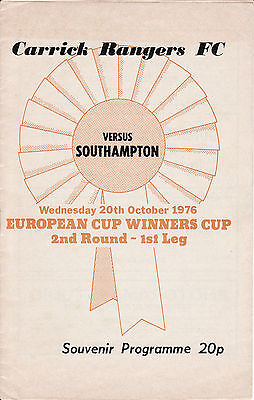 1976/77 Carrick Rangers v Southampton Cup Winners Cup