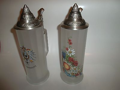 """Bockling Beer Steins 10"""" Frosted Glass Hinged Lid Old Germany Edelweiss Mug 0.5L"""