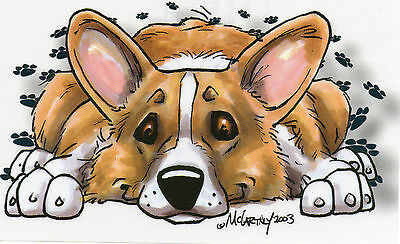 Welsh Corgie Decal (Car Sticker) by Mike McCartney