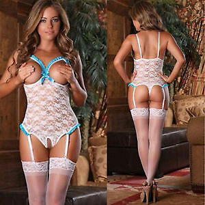 Ladies Sexy White Lace Lingerie Babydoll Underwear Dress Open Crotch Size 10/12