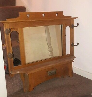 Antique Carved Oak Hat And Coat Stand / Rack, Hall Stand, Wall Mirror Original