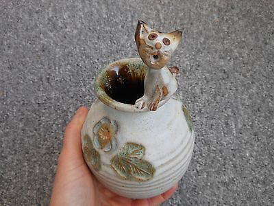 Pottery vase with cat on top and flower with leaf design Devon Torquay - signed
