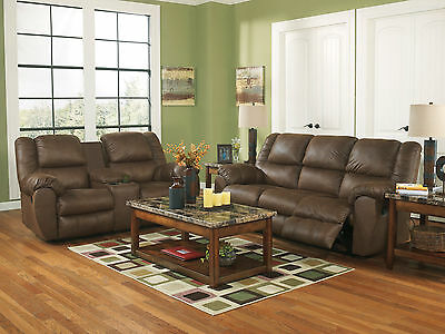 URBAN - Modern Brown Faux Leather Recliner Sofa Couch Set Living Room Furniture