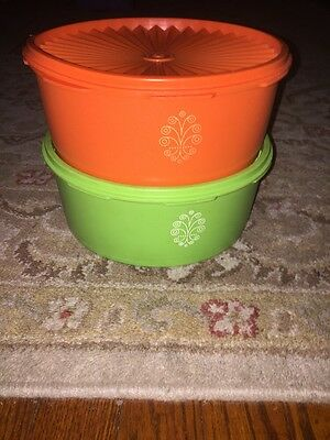 Vintage Tupperware 2 round canister set Green & Orange made in USA #1204 + Lids